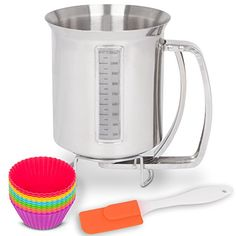 Stainless Steel Pancake  Cake Batter Dispenser Bundle with Measuring Label for Making Pancakes Crepes  Waffles  Utilwise Baking Bundle with 12 Pack of Silicone Cupcake Mold Cups and Small Spatula *** Check out the image by visiting the link.