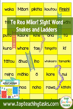 This pack includes three Te Reo Snakes and Ladders Game Boards (ngā nākahi me ngā arawhata). These boards feature 117 te reo Māori high-frequency sight Literacy Circles, Word Ladders, Maori Words, Guided Reading Lessons, Sight Word Flashcards, Sight Words List, High Frequency Words, Teacher Tools, Reading Comprehension