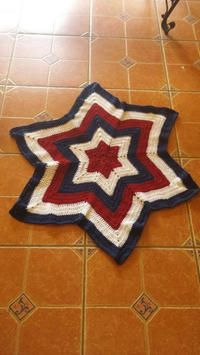 "NEW Beautiful Baby Blanket. Soft & cuddly. 100% Acrylic HandCrafted by me. Vibrant colors: Red, White and Blue. Sz: Point to Point 40"" x 40"". Washable: gentle cycle Dry: low heat."