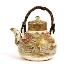 Meiji Japanese Satsuma Teapot Tea Pot Stag Deer Signed | eBay