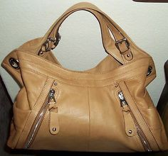 B Makowsky E W Jakarta Leather Handbag In Tan Brown Euc Per Purse