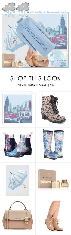 """""""Rainy Day Style"""" by yours-styling-best-friend ❤ liked on Polyvore featuring Universal Lighting and Decor, Betseyville, NoSoX, Kamik, Draper James, Burberry, MICHAEL Michael Kors, Disney and Paule Ka"""