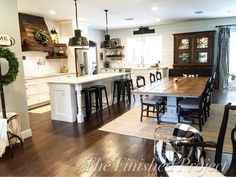 Farmhouse Kitchen ~ Shiplap ~ white kitchen ~ wood floors ~ Wood vent Hood ~ Love this kitchen and layout. Wood Floor Kitchen, Kitchen Redo, New Kitchen, Kitchen Remodel, Kitchen Dining, Kitchen Layout, Kitchen Ideas, Beautiful Kitchens, Home And Living