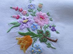 Vintage Hand Embroidered Table Cloth-BEAUTIFUL RAISED FLORAL BOUQUET