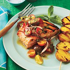Grilled Char with Yukon Golds and Tomato–Red Onion Relish | CookingLight.com