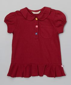 Red Button-Accent Ruffle Polo - Infant, Toddler & Girls #zulily #zulilyfinds