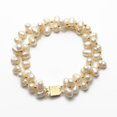 White Pearls with Golden Alloy Beads Bracelet Wholesale jewelry,beads - Pearls,coral,gemstone,turquoise jewelry Handmade Pearl Jewelry, Handmade Bracelets, Beaded Jewelry, Gold Pearl Ring, Baroque Pearl Necklace, Pearl Rings, Crystal Bracelets, Jewelry Bracelets, Jewelery