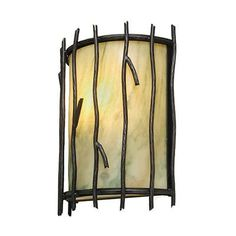 Steel Partners Sticks Timber Ridge 1 Light Wall Sconce Shade Color: Slag Glass Pretended, Finish: Mountain Brown