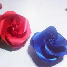 Origami rose rosa