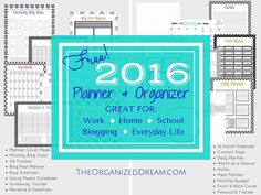 The Organized Dream: FREE 2016 Calendar, Planner & Organizer (35+ Pages!)