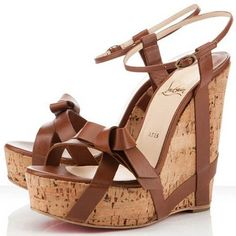 Christian Louboutin Sale Christian Louboutin Miss Cristo Wedges Brown - Color: Brown Material: Leather Heel height: Front platform: Wood Wedges sAndal with knotted in fRont,Peep toe And Slingback will more suitable for summer. Brown Wedge Sandals, Strappy Wedges, Brown Wedges, Wedge Shoes, Hot Shoes, Women's Shoes, Cognac Wedges, High Wedges, Brown Heels