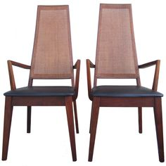 Mid-Century Cane-Back Armchairs by Tempo of California | From a unique collection of antique and modern armchairs at https://www.1stdibs.com/furniture/seating/armchairs/