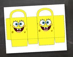 Spongebob Birthday Party Goodie Box Bag Printable Template DIY. Not sure how much a paper bag/holder would hold? But cute!☆