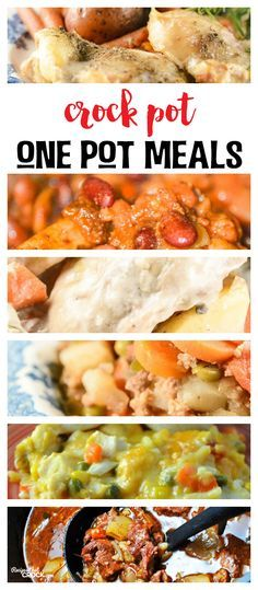 Do you love great one pot meals? I sure do! These Crock Pot One Pot Meals make dinner a snap on busy weeknights. I have pulled together some of my favorite ways to crock the pot with all in one meals including Crock Pot Beef Stew, Crock Pot Creamy Chicken Vegetables, One Pot Chicken Dinner, Crock Pot Italian Hobo Stew, Crock Pot One Pot Chicken Casserole and Easy Crock Pot Cowboy Beans.