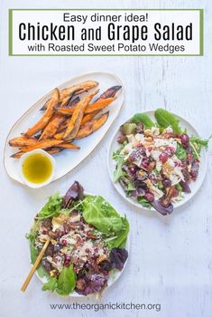 Chicken and Grape Salad with Roasted Sweet Potatoes: a delicious, quick and healthy meal made simple by using rotisserie chicken! Turkey Recipes, Paleo Recipes, Real Food Recipes, Free Recipes, Paleo Meals, Healthy Dinners, Lunch Recipes, Chicken Recipes, Healthy Food