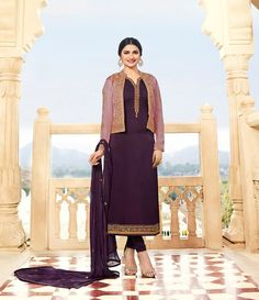 Prachi Desai Puple ColorGeorgette Satin Designer Suit with a Jacket. This suit is adorned with zari and thread embroidery and stone work. Comes with a matching dupatta. Prachi Desai, Stone Work, Duster Coat, Satin, Embroidery, Jackets, Design, Fashion, Needlework