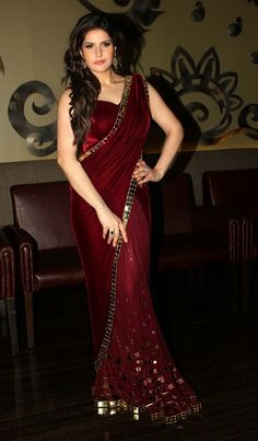 Fashion Sweet Pink: Zarin Khan In Designer Maroon Saree Pics