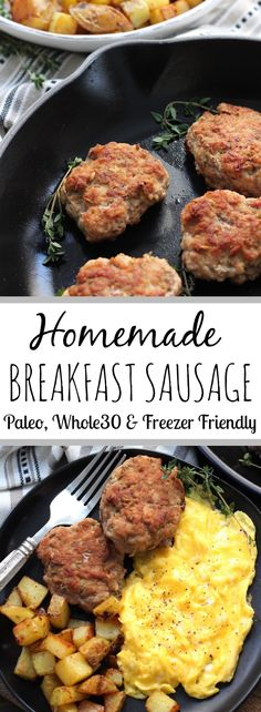Sugar Free homemade breakfast sausage to use in breakfast sausage patties, or as ground breakfast sausage in skillets, egg bakes, and more! #paleobreakfast #whole30breakfast #breakfastsausage #whole30 #homemadebreakfastsausage