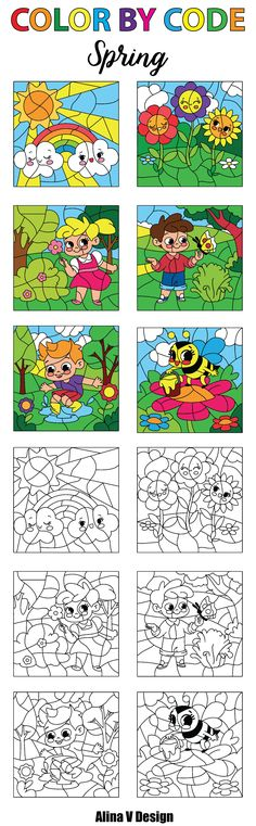 Spring Color By Numbers, Color By Code, Color By Word, Color By Symbol, Color By Icon, Teachers Pay Teachers