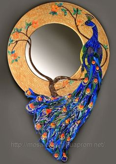Peacock mirror: contemporary mosaic art by Imed Eddine El Hakim. Peacock Mirror, Peacock Decor, Peacock Colors, Peacock Art, Mosaic Artwork, Mirror Mosaic, Mosaic Glass, Stained Glass, Glass Art