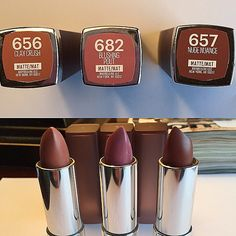 They are super smooth and not drying at all. Maybelline did a great job Maybelline Matte Lipstick, Superstay Maybelline, Lipgloss, Lipstick Swatches, Makeup Swatches, Drugstore Makeup, Lipstick Brands, Mac Lipstick, Makeup Tricks