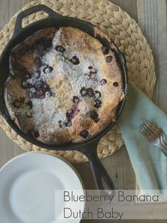 Blueberry Banana Dutch Baby Note: used the sugar and 1 t vanilla and it was perfect for us. Baked it in pie pan. Could have even put more banana and blueberries in it. Delicious Breakfast Recipes, Yummy Food, Sweet Recipes, Real Food Recipes, Dutch Pancakes, Chef Boyardee, No Rise Bread, Dutch Oven Recipes, Bedtime Snacks