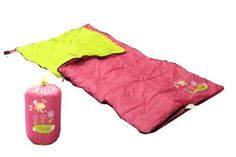 Youth Sleeping Bag Flower - The COZY CUDDLERTM sleeping bag will make your child's sleep over or camping/vacation a lovely experience. Fluffy insulation to keep you comfortable in normal conditions. It comes rolled up in its own back pack with adjustable straps, to fit his or her shoulders. Each back pack is designed to match the sleeping bag with the same color and artwork. The Back pack is designed with top draw strings to insure safe keeping of items stowed. Bottom handle included…