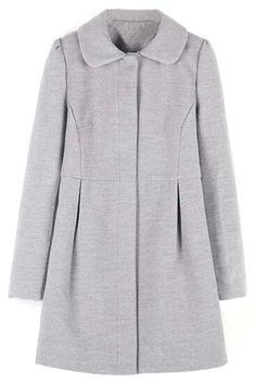 Chic Grey Pleated Coat
