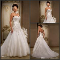 2016 Fashionable A-Line Wedding Dresses Tulle With Appliques Lace Beads Floor Length Strapless Neck Zipper Bridal Formal Occasion Dresses A-Line Wedding Dresses Strapless Neck Dresses Bridal Gowns Online with $199.99/Piece on Yahuifang2016's Store | DHgate.com