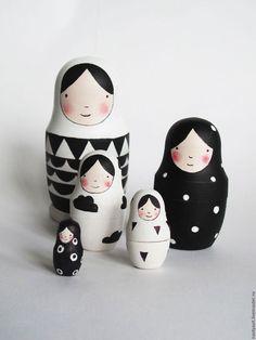 Развивающие игрушки ручной работы. Ярмарка Мастеров - ручная работа. Купить матрешка. Handmade. Чёрно-белый, для малышей, куклы и игрушки
