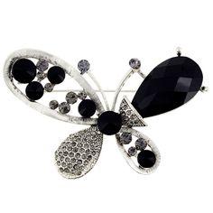 Black Butterfly Crystal Pin Brooch