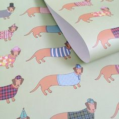 Larry the Long Dachshund Wrapping Paper by MaryKilvert on Etsy - potentially the best wrapping paper ever...?!