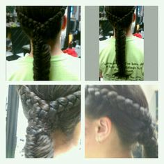 A (dutchbraid,cornbraid) going into a fishtailbraid.  By AnnMarie @Annmarieshaironmadison.