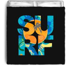 Black SURF Eco Friendly & Made in USA Surfer Bedding Beach Comforter