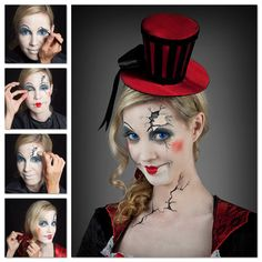 Schminktipp zu Halloween Broken Doll #diy #make-up #makeup #kontaktlinsen #puppe #brokendoll #halloween