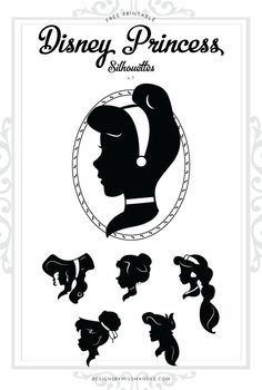FREE Disney Princess Silhouettes v.1 - Designs By Miss Mandee. I love, love, LOVE Disney! These vintage-style silhouettes are such a perfect way to add some classic Disney flair to your home or child's bedroom decor. Includes Megara, Cinderella, Jane, Jasmine, Tinker Bell, and Ariel!