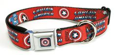 "Dog Collar Captain America w/Shield/Text Red - 1 "" Wide, Large Necks 15""-26"""