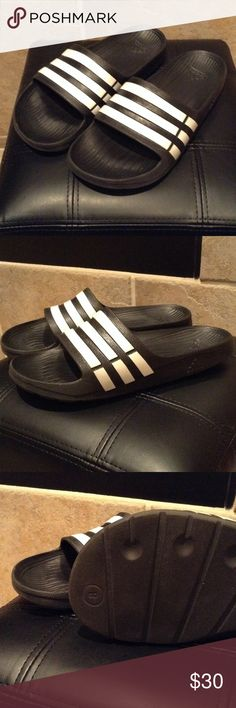 Adidas Striped Slides Sandals Exclusive Adidas Collection  Adidas Striped Slides  Style: Slides/Sandals  Size: 8 W (feels more like an 8.5)  Retail: $45.99 + Tax  Condition: Like New - worn once didn't like them on me Adidas Shoes Sandals