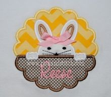 Peeking Bunny Girl Applique Design