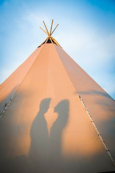 Romantic #wedding day summer silhouette #Tipi #Lancashire