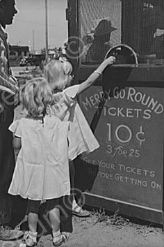 Little Girls Buy Merry Go Round Tickets! 4x6 Reprint Of Old Photo