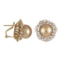 Gold South Sea Pearl Earrings with Yellow Gold & Diamonds (TARA1 1057703)
