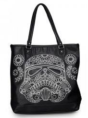 """Star Wars Storm Trooper"" Walking Stitch Floral Denim Tote Bag by Loungefly (Black)"
