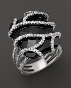 Diamond and Black Onyx Ring in 14K White Gold, 1.20 ct. tw_0