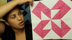 She shows how to turn the half square triangle several ways to make many blocks from 16 half triangle blocks