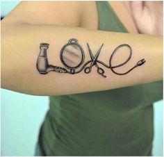 Cosmetology Tattoos, Hairdresser Tattoos, Hairstylist Tattoos, Hairdresser Quotes, Future Tattoos, Love Tattoos, Body Art Tattoos, Tatoos, Tattoo Ink