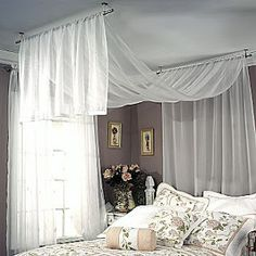 Or this one -- curtain hardware from JC Penney made specifically to hang from ceiling. Ceiling Mount Curtain Rods, Hanging Curtain Rods, Ceiling Curtains, Wall Drapes, Bedroom Ceiling, Sloped Ceiling, Fabric Ceiling, String Curtains, Drapery Rods