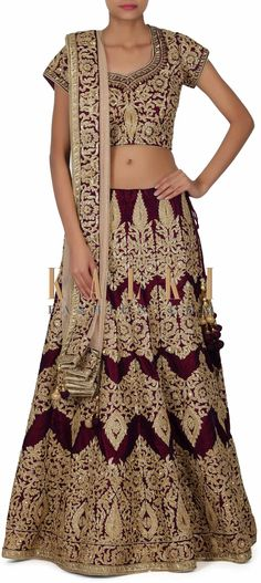 Buy this Purple Lehenga adorn in resham and kundan embroidery only on Kalki