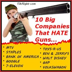 10 HUGE companies that publicly support gun control ---->> I don't know about you, but I think I'll shop the competition!