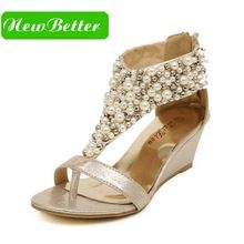 Rhinestone zipper pearl lady summer sandals beaded high heels gold black wedges sandals women shoes(China (Mainland))